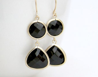 Alexa. Jet Black Faceted Stone Earrings Matte Gold Finish