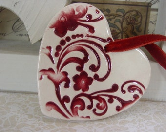 Flourishes and Flowers, Red Ceramic Heart Wedding - Christmas Ornament
