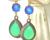 Vintage Lime Green Tear Drop Pear Frosted Blue Glass Vintage Rhinestone Drop Dangle Earrings - Wedding ,Beach, Tropical, Bridal