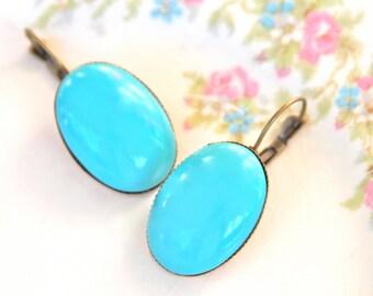 Vintage Aqua Blue Turquoise Oval Antique Brass Lever Back Drop Dangle Earrings - Bridesmaids, Beach, Southwestern