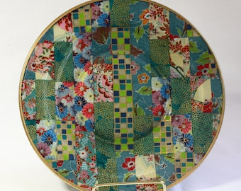 Asian Style Decoupaged Glass Plate: Checks and Flowers