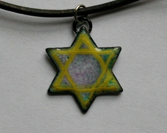 Enameled Star of David pendant / Jewish Star Necklace /  copper enamel Judaica / slight second