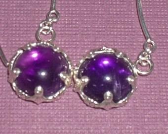 Amethyst Earrings - Amethyst and Sterling Silver Dangle Earrings - Birthstone Dangle Earrings
