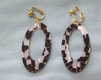 Large Black and White Acrylic Oval Gold Earrings Clip on or Pierced