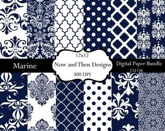 Digital  scrapbooking paper and crafts Navy Blue 8.5 x 11 Texture Polka Dots Damask Quatrefoil Shape INSTANT DOWNLOAD-Marine