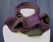 Ruffle Scarf in Eggplant Colors - Aubergine, Olive, Charcoal, Earth. Free Shipping.