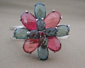 Cuff Bracelet, teal and pink bracelet, glass stone bracelet, bracelet with flower, colorful bracelet, hinged, floral