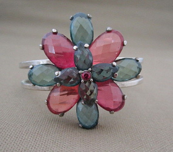 Teal and Pink Glass Stone Flower Cuff  Bracelet