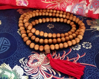 Sandalwood mala 108 with red tassel 10mm beads