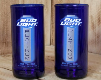 Pair of Upcycled Bud Light Platinum Pint Glasses made from beer bottles