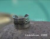 Custom stamped, adjustable ring - Eucharisteo Design - heart