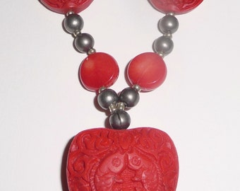 Red Cinnabar Necklace - Red Stone Necklace - Red and Silver - Valentines Day (sale/originally 19.99)