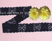 Black Lace Trim 10 Yards  Stretch Floral Galloon  3/4 inch wide Lot I24B Added Items Ship No Charge