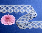 White Lace Trim 12 Yards Scroll Scalloped 7/8 inch N69A Added Items Ship No Charge