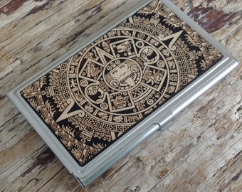 Aztec Calendar Business Card Case / Wood Business Card Holder - Mayan calendar,Cinco De Mayo, Mexican Art, Mexican Decoration, tonalpohualli
