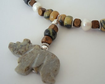 Stone Fetish Bear Totem Necklace Yellow Turquoise Wood Fresh Water Pearl