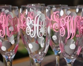 Monogrammed Champagne Flute - Bridesmaid Gifts - Three Letter Monogram - Personalized Glass