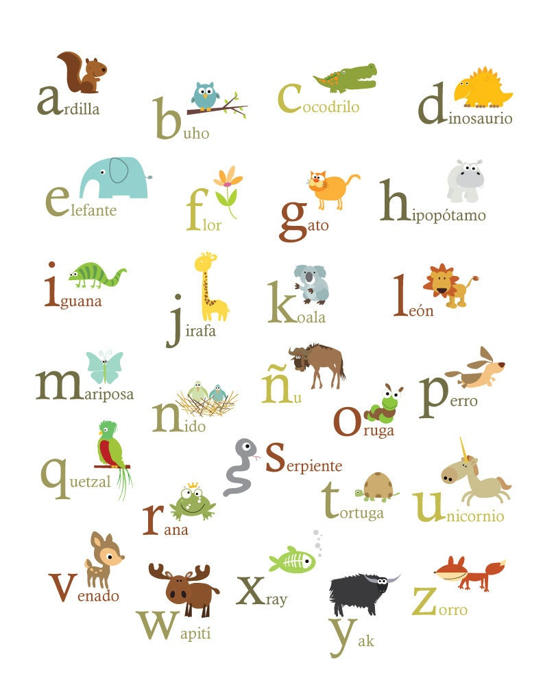 Spanish Nature Themed Alphabet 11X14 Set of 2 Posters