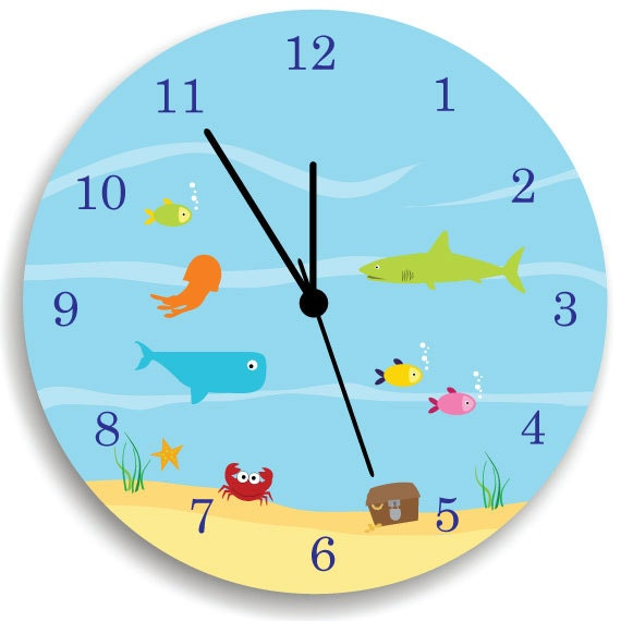 kids wall clock children room decor life under by