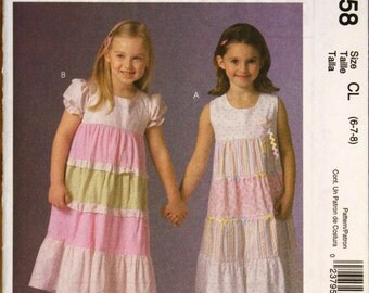 McCalls M4758 Girls Tiered Dresses Sewing Pattern