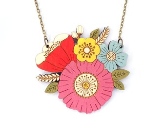 Poppy posy necklace ~ hand painted laser cut flower necklace