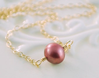 Gold Choker Necklace, Marsala, Genuine Copper Red Dusty Rose, Freshwater Pearl, Minimalist Gold Filled Simple Jewelry Free Shipping