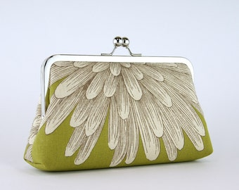 Chrysanthemum Clutch on Olive Green (choose your color) With Silk Lining, wedding clutch, bridesmaid clutch, bridesmaid gift