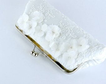 Cherry Blossom  Silk Clutch in WHITE or IVORY,  wedding clutch, wedding bag, Bridal clutch