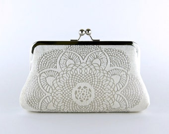 Brocade Velvet  Crochet Doily Clutch, Wedding bag, Bridal clutch, Wedding purse, Gift ideas, Perfect Vintage Look