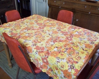 "Vintage Orange and Yellow Floral Cotton Tablecloth 50"" by 48"" Fall Colors"