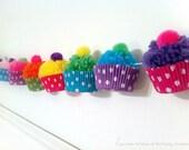 Yarn Cupcake Pom Pom Garland   Cupcake Birthday   Cupcake 1st Birthday   Girl 1st Birthday Party   Cupcake Party   Cupcake Banner