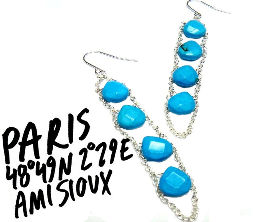 Turquoiseearrings, blueearrings, ladderearrings, dangle earrings, longearrings, rokcandyjewelry, rokcandyjewelry, turquoisejewelry