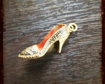 Antique French Enamel miniature woman shoe medal - great item for jewelry, mixed media or assemblage