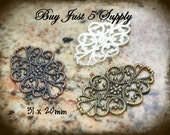 Filigree Embellishment -  31 x 20mm -  5 for You - Silver - Antique Bronze - Copper - Jewelry, Metal Riveting, Scrapbooking....
