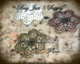 Filigree Flower - 27mm -  8 for You - Silver - Antique Bronze - Copper - Jewelry, Metal Riveting, Scrapbooking....