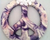 Ceramic Peace Ornament - Peace Sign - Purple White and Pink  - Tie dye - Swirled