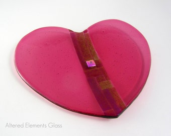Raspberry Pink Heart - Fused Glass Dish - Pink Heart Candle Dish - Trinket Dish - Soap Dish - Candy Dish