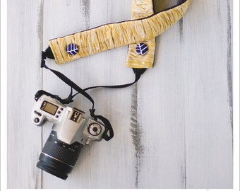 CLOSEOUT SALE - ruched camera strap cover - golden woodgrain