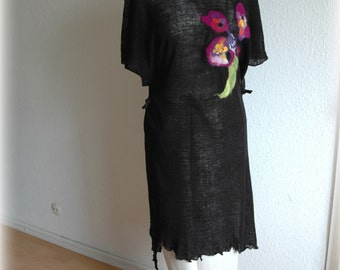 Black Sleeveless Wrap Tunic Linen Knitted  With Felt Appliques Natural Eco Friendly Universal Size