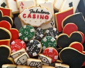 Casino Cookies-Cards Cookies-Poker chip cookies- dice cookies  -  4 Dozen