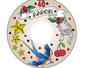 Custom Printable CD Label - Rockabilly Tattoo Hipster