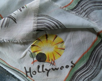 Hollywood Scarf - Synthetic, Green Grey with Yellow Bursts or Flowers