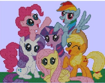 My Little Pony Friendship is Magic Cross Stitch Pattern the Mane Six