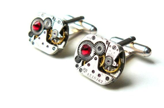 Steampunk Cufflinks Steampunk Watch Cufflinks Red Cufflinks Industrial Gothic Steampunk Jewelry by pennyfarthingdesigns on Etsy