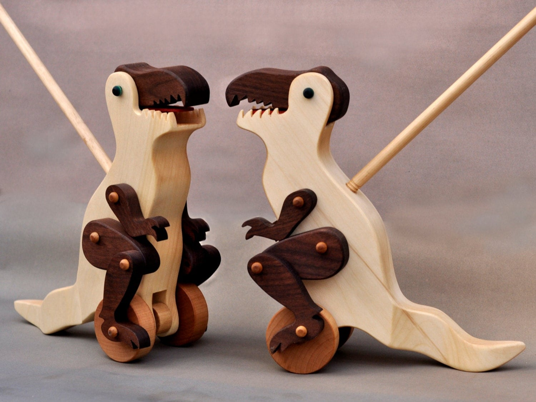 Tyrannosaurus Rex Push Toy Wooden Toy Tyrannosaurus Rex Push