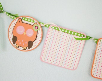Owl Polka Dot Photo Banner - pink orange green brown - first year birthday party - one year old