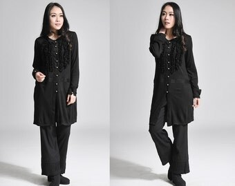 Ethnic Style Ruffled Long Blouse with Silver Buttons/ Sweater/ 13 Colors/ Any Size/ RAMIES