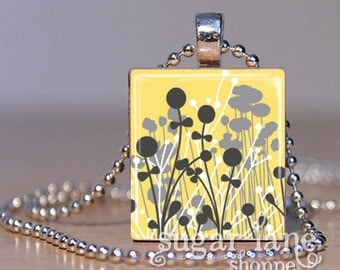 Yellow and Gray Floral Silhouettes Necklace - (FSA1 - Yellow, Gray, White, Flowers) - Scrabble Tile Pendant with Chain