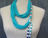 Bright Turquoise and Colored Stripe Multistrand Cotton Jersey Summer Infinity Scarf