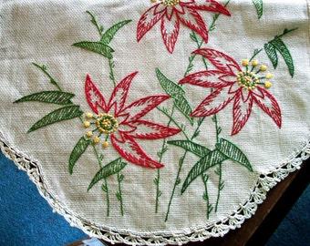 Vintage EMBROIDERED RUNNER, Huge Ecru Piece w/Huge Red FLOWERS, Ecru Tatted Edge, Exceptional Linen